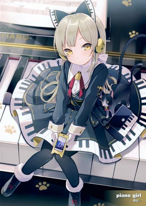 二次 非エロ 萌え 楽器 ヘッドフォン ギター 管楽器 弦楽器 笛 ピアノ ヴァイオリン ドラム 美少女風景 二次非エロ画像 gakki10020160527074