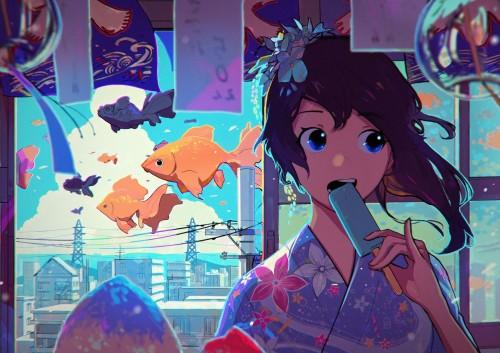 二次 萌え エロ フェチ 和服 着物 浴衣 はだけた 花火 脱衣 季節 夏 お祭り 二次エロ画像 yukata2016062540