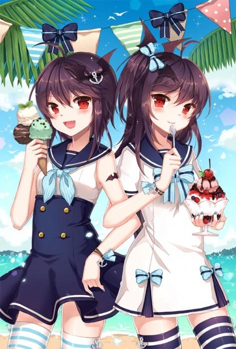 二次 非エロ 萌え フェチ 美少女風景 夏 暑い アイスクリーム カキ氷 季節 二次エロ画像 kakigoori2016080112