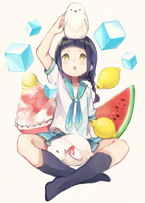 二次 非エロ 萌え フェチ 美少女風景 夏 暑い アイスクリーム カキ氷 季節 二次エロ画像 kakigoori2016080118