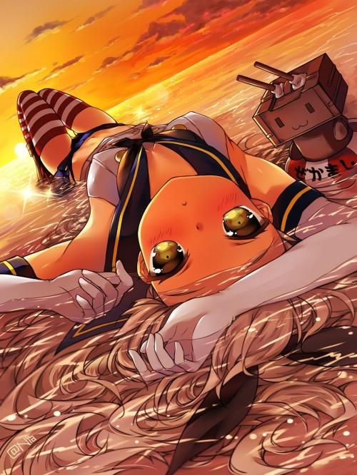 二次 エロ 萌え ゲーム 艦隊これくしょん 艦これ 島風 ぜかまし うさ耳リボン ミニスカート 縞々ニーソ ニーソ 黒下着 黒パンツ 擬人化 セーラー服 二次エロ画像 shimakazekancolle10020160720083