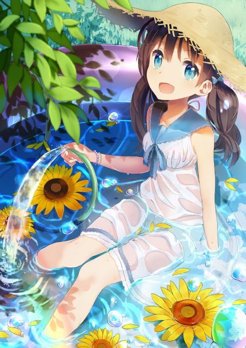 二次 エロ 萌え フェチ 帽子 麦わら帽子 水着 ワンピース服 夏 二次エロ画像 strawhat2016072634