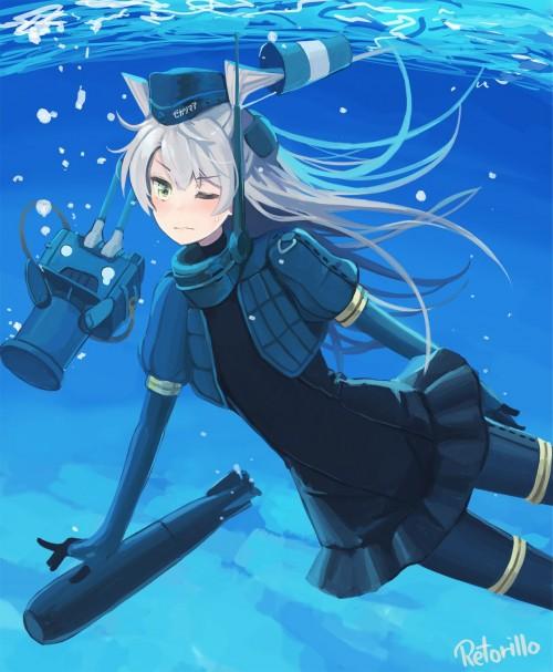 二次 非エロ 萌え フェチ 水着 ビキニ スク水 水中 深海少女 二次非エロ画像 suichuu2016070606