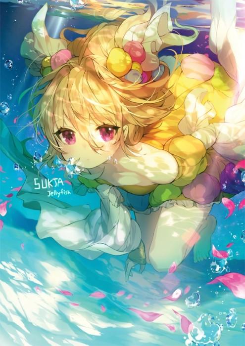 二次 非エロ 萌え フェチ 水着 ビキニ スク水 水中 深海少女 二次非エロ画像 suichuu2016070611