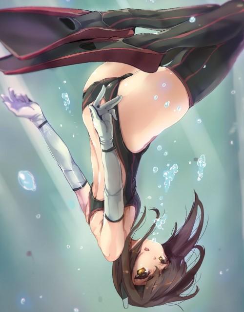 二次 非エロ 萌え フェチ 水着 ビキニ スク水 水中 深海少女 二次非エロ画像 suichuu2016070624