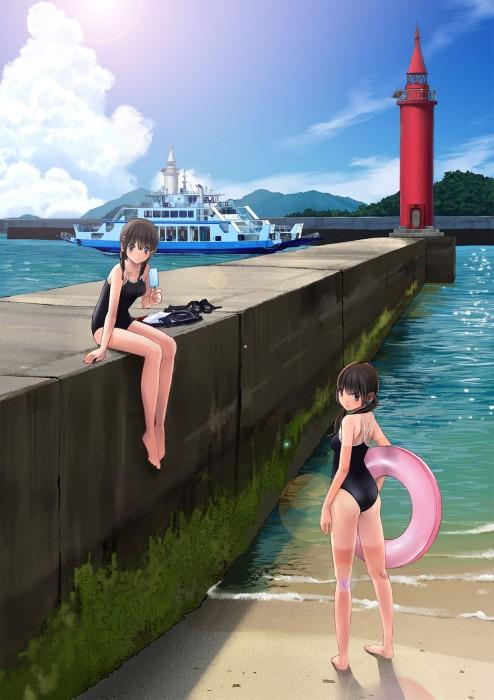 二次 エロ 萌え フェチ 美少女風景 水着 ビキニ スクール水着 ビーチ 海 砂浜 日差し 青空 太陽 二次エロ画像 umi10020160718006