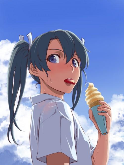 二次 エロ 萌え フェチ 美少女風景 扇風機 風呂上り 夏 暑い アイスクリーム カキ氷 季節 二次エロ画像 ice2016081943