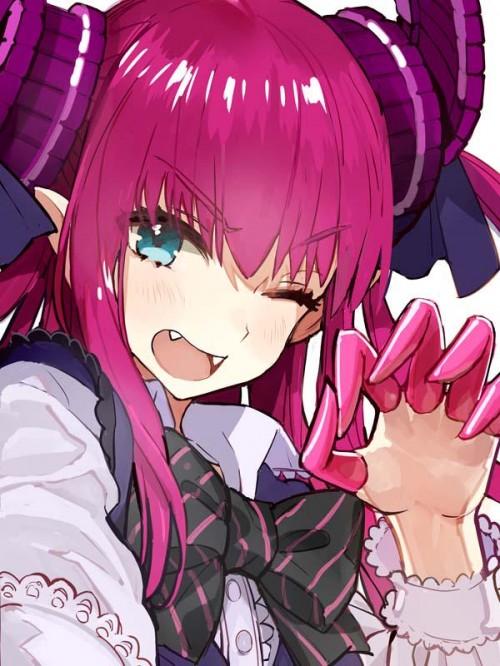 二次 萌え 非エロ アニメ ゲーム ビジュアルノベル Fate ランサー(Fate/EXTRA-CCC) エリザベート・バートリー 無自覚音痴 角 尻尾 貧乳 何度も出てきて恥ずかしくないんですか? 赤ランサー ロリ エルフ耳 赤髪 紫髪 二次非エロ画像 lancerfateextraccc2016082501