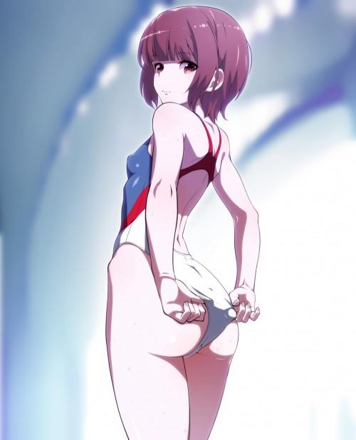 二次 エロ 競泳水着 ハイレグ ワンピース型 萌え フェチ 食い込み スポーツ少女 二次エロ画像 kyoueimizugi2016090530