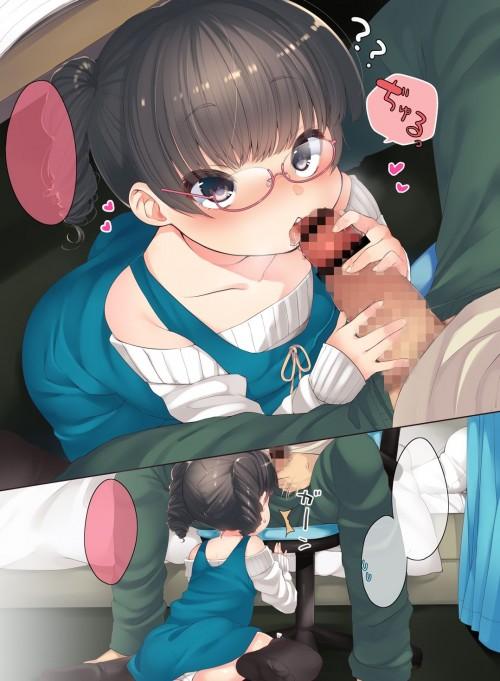 二次 エロ 萌え フェチ セックス フェラチオ オナニー 机の下 テーブルの下 布団の下 隠れエッチ ステルス 手コキ 二次エロ画像 tukuenoshita2016091606