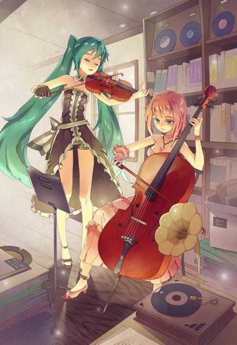二次 非エロ 萌え 楽器 ヘッドフォン ベース コントラバス 美少女風景 二次非エロ画像 bass20161111010