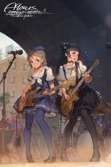 二次 非エロ 萌え 楽器 ヘッドフォン ベース コントラバス 美少女風景 二次非エロ画像 bass20161111011