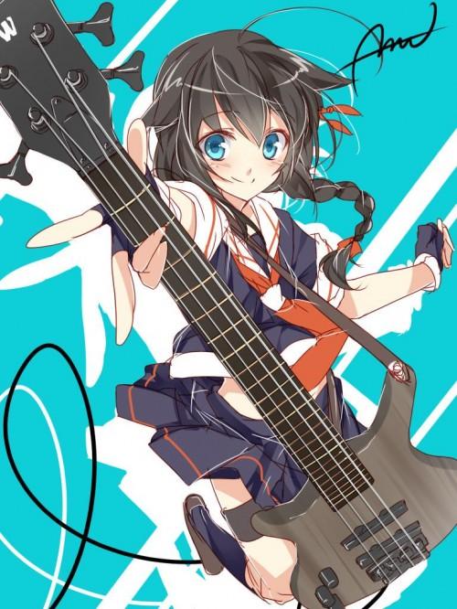二次 非エロ 萌え 楽器 ヘッドフォン ベース コントラバス 美少女風景 二次非エロ画像 bass20161111014