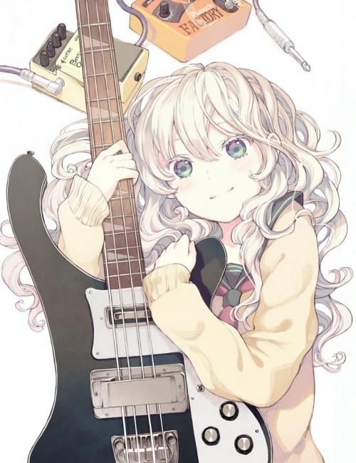 二次 非エロ 萌え 楽器 ヘッドフォン ベース コントラバス 美少女風景 二次非エロ画像 bass20161111034