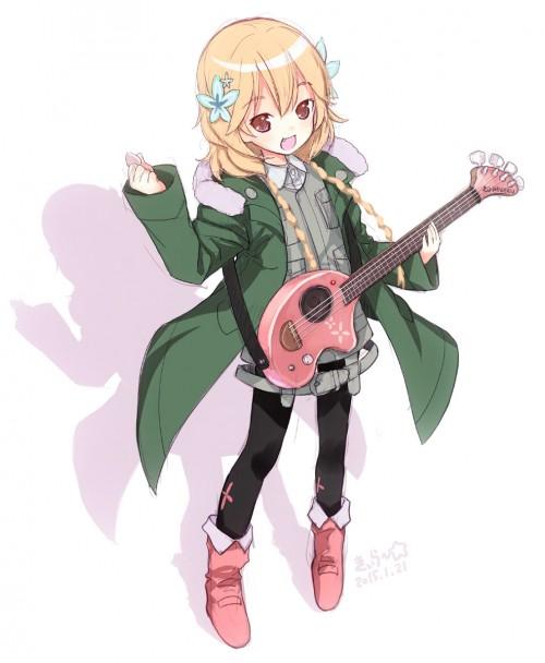 二次 非エロ 萌え 楽器 ヘッドフォン ベース コントラバス 美少女風景 二次非エロ画像 bass20161111036