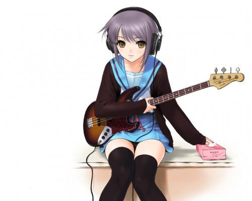 二次 非エロ 萌え 楽器 ヘッドフォン ベース コントラバス 美少女風景 二次非エロ画像 bass20161111040