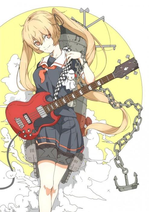 二次 非エロ 萌え 楽器 ヘッドフォン ベース コントラバス 美少女風景 二次非エロ画像 bass20161111048