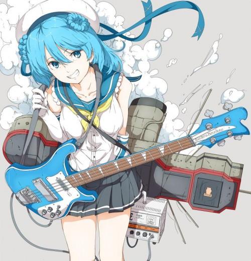 二次 非エロ 萌え 楽器 ヘッドフォン ベース コントラバス 美少女風景 二次非エロ画像 bass20161111050
