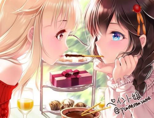 二次 非エロ 萌え フェチ ポッキー ポッキーゲーム ポッキーキス チョコレート 食べ物 食事風景 11月11日 二次非エロ画像 pocky2016111449