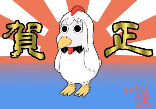 二次 非エロ 萌え フェチ お正月 酉年 鶏 ヒヨコ 振袖 着物 和服 二次非エロ画像 niwatori10020170105001