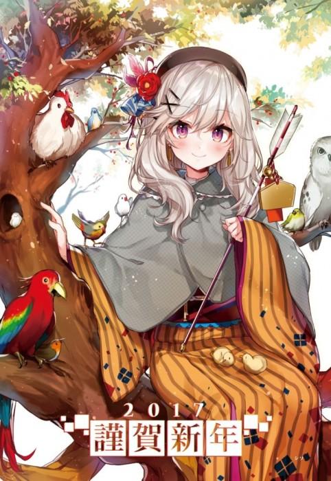 二次 非エロ 萌え フェチ お正月 酉年 鶏 ヒヨコ 振袖 着物 和服 二次非エロ画像 niwatori10020170105005