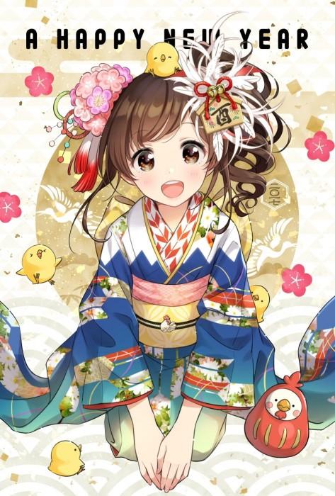 二次 非エロ 萌え フェチ お正月 酉年 鶏 ヒヨコ 振袖 着物 和服 二次非エロ画像 niwatori10020170105012