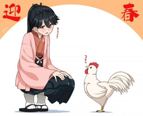 二次 非エロ 萌え フェチ お正月 酉年 鶏 ヒヨコ 振袖 着物 和服 二次非エロ画像 niwatori10020170105017