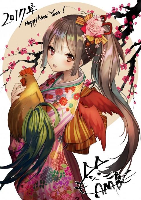 二次 非エロ 萌え フェチ お正月 酉年 鶏 ヒヨコ 振袖 着物 和服 二次非エロ画像 niwatori10020170105035