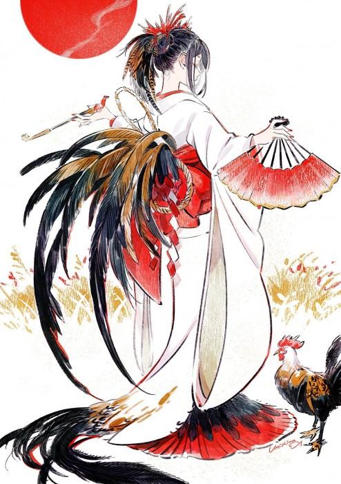 二次 非エロ 萌え フェチ お正月 酉年 鶏 ヒヨコ 振袖 着物 和服 二次非エロ画像 niwatori10020170105042