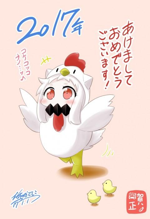 二次 非エロ 萌え フェチ お正月 酉年 鶏 ヒヨコ 振袖 着物 和服 二次非エロ画像 niwatori10020170105060