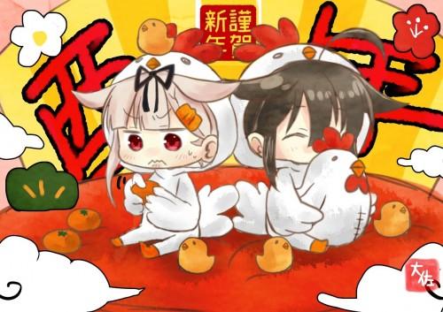 二次 非エロ 萌え フェチ お正月 酉年 鶏 ヒヨコ 振袖 着物 和服 二次非エロ画像 niwatori10020170105063