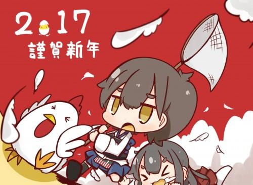 二次 非エロ 萌え フェチ お正月 酉年 鶏 ヒヨコ 振袖 着物 和服 二次非エロ画像 niwatori10020170105083