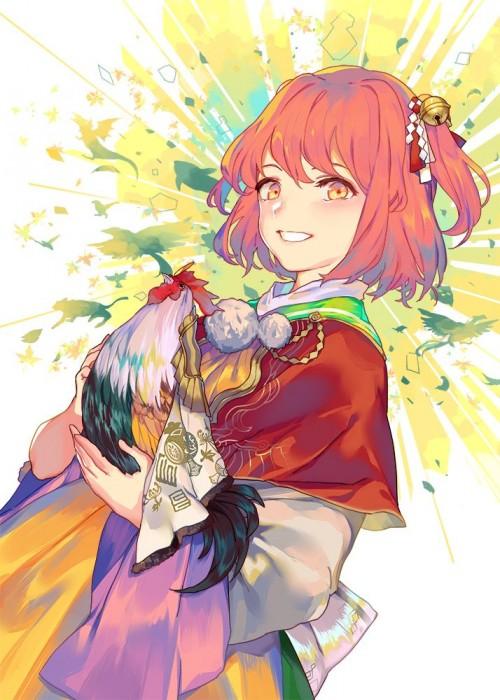 二次 非エロ 萌え フェチ お正月 酉年 鶏 ヒヨコ 振袖 着物 和服 二次非エロ画像 niwatori10020170105085