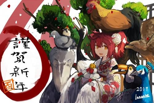 二次 非エロ 萌え フェチ お正月 酉年 鶏 ヒヨコ 振袖 着物 和服 二次非エロ画像 niwatori10020170105090