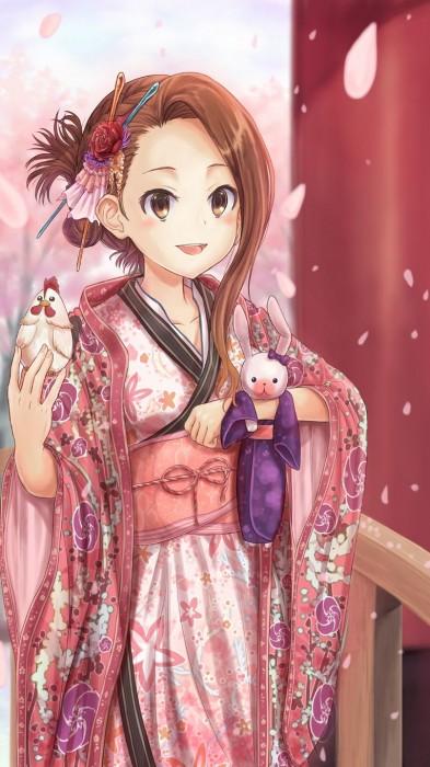 二次 非エロ 萌え フェチ お正月 酉年 鶏 ヒヨコ 振袖 着物 和服 二次非エロ画像 niwatori10020170105092