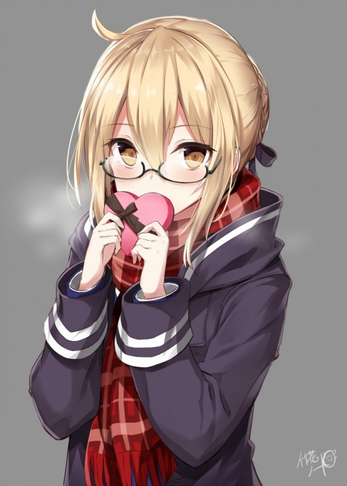 二次 非エロ 萌え フェチ バレンタイン チョコレート 裸リボン プレゼント 裸チョコ 赤面 照れてる 恥ずかしがってる 表情 二次微エロ画像 valentine10020170216016