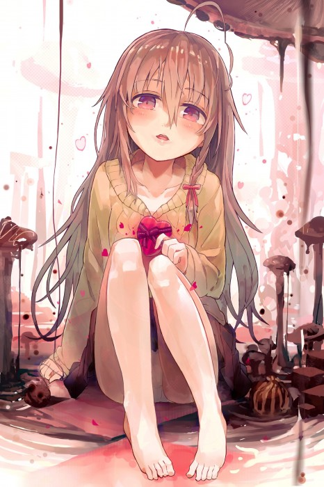二次 非エロ 萌え フェチ バレンタイン チョコレート 裸リボン プレゼント 裸チョコ 赤面 照れてる 恥ずかしがってる 表情 二次微エロ画像 valentine10020170216021