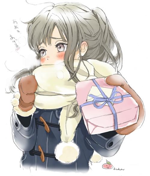 二次 非エロ 萌え フェチ バレンタイン チョコレート 裸リボン プレゼント 裸チョコ 赤面 照れてる 恥ずかしがってる 表情 二次微エロ画像 valentine10020170216058