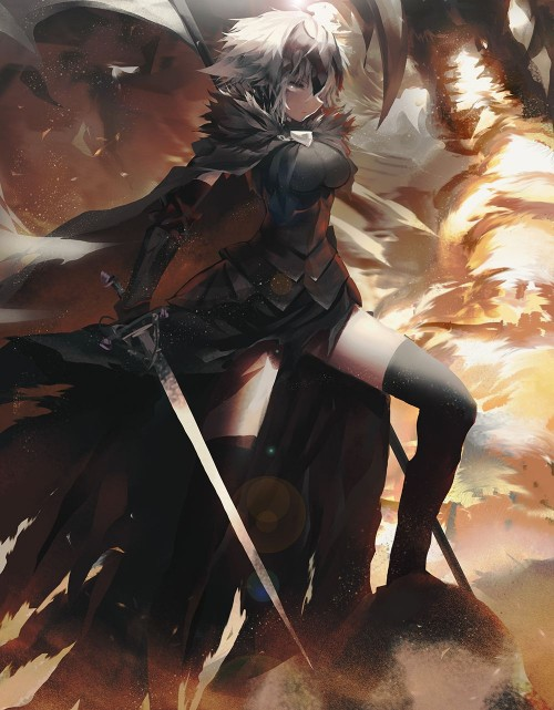 二次 萌え エロ アニメ ゲーム ビジュアルノベル セイバー サーヴァント Fate Fate/Apocrypha Grand Order ジャンヌ・オルタ 邪ンヌ 竜の魔女 反抗期の女子 邪悪JK アホ毛 金髪 プラチナブロンド 巨乳 二次エロ画像 jeannealterfate10020170501001