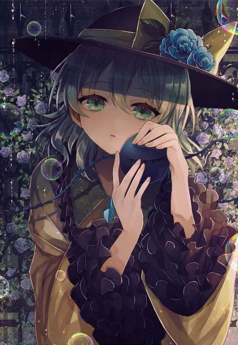 二次 エロ 萌え ゲーム 東方project 古明地こいし 緑髪 帽子 無意識を操る程度の能力 灰色の髪 グリコ 妹 二次エロ画像 komeijikoishi10020170503039