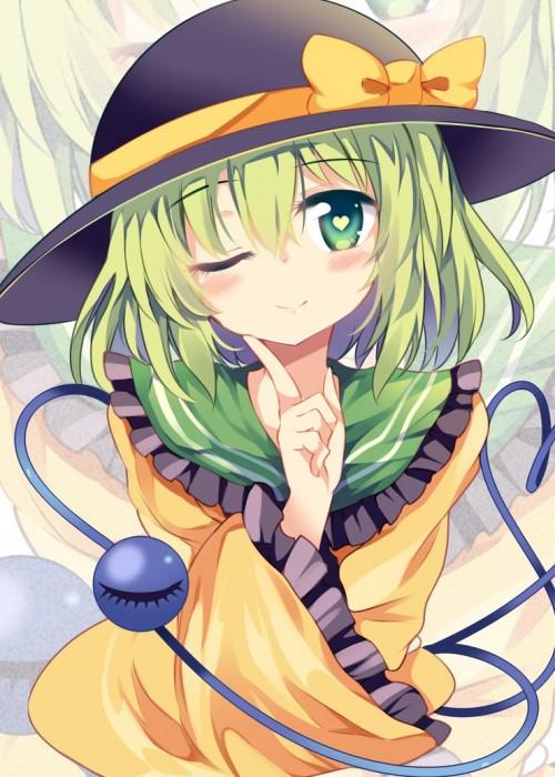 二次 エロ 萌え ゲーム 東方project 古明地こいし 緑髪 帽子 無意識を操る程度の能力 灰色の髪 グリコ 妹 二次エロ画像 komeijikoishi10020170503088