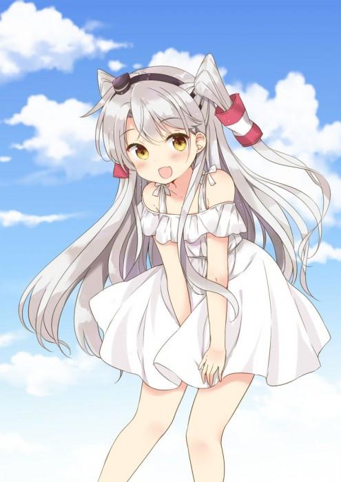 二次 非エロ 萌え フェチ ワンピース服 白ワンピ サンドレス スリーブレスドレス 透けてる サマードレス 二次微エロ画像 shiroonepiecehuku2017050931
