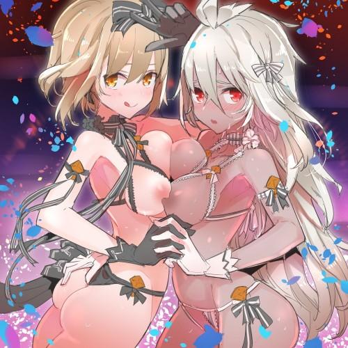 二次 エロ 萌え フェチ おっぱい 巨乳 百合 乳寄せ 抱き合ってる キス ベロチュー 乳首コリコリ 巨乳 貧乳 レズ 挟まれたいおっぱい 谷間が二つ 二次エロ画像 chikubiawase2017062241