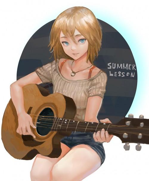 二次 非エロ 萌え 楽器 ヘッドフォン ギター 二次非エロ画像 guitar10020170609018