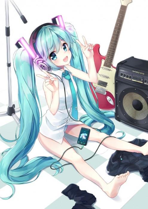 二次 非エロ 萌え 楽器 ヘッドフォン ギター 二次非エロ画像 guitar10020170609040
