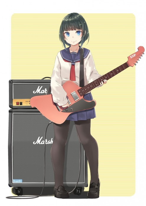 二次 非エロ 萌え 楽器 ヘッドフォン ギター 二次非エロ画像 guitar10020170609069