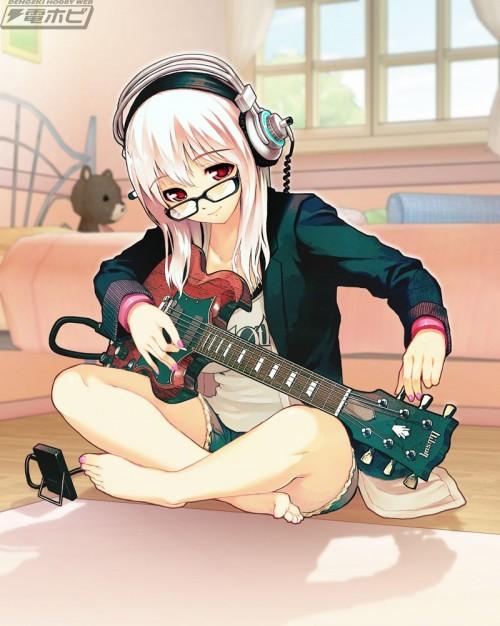 二次 非エロ 萌え 楽器 ヘッドフォン ギター 二次非エロ画像 guitar10020170609088