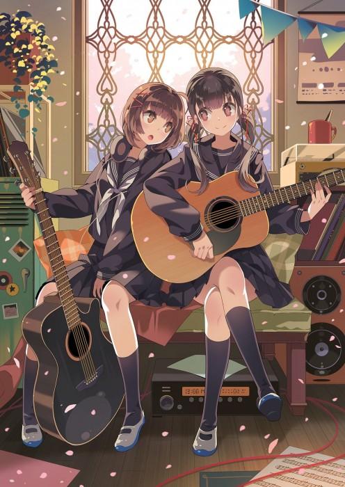 二次 非エロ 萌え 楽器 ヘッドフォン ギター 二次非エロ画像 guitar10020170609098