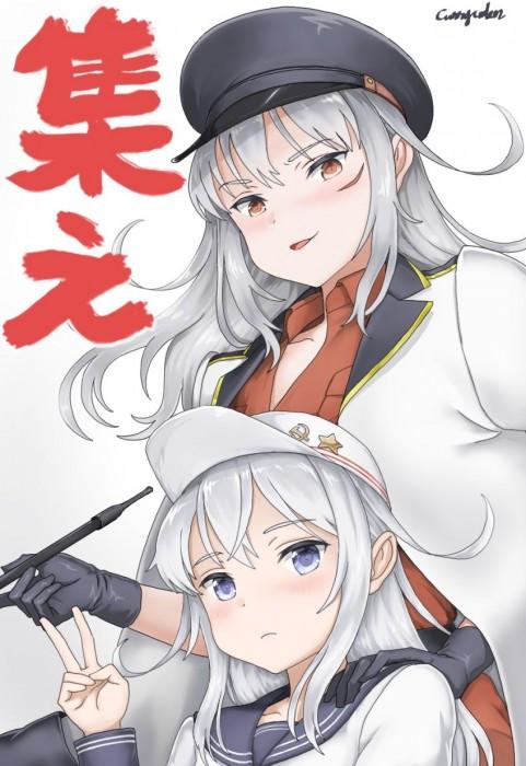 二次 エロ 萌え ゲーム 艦隊これくしょん 艦これ 暁型四姉妹 クール ロシア ヴェールヌイ 銀髪・白髪 青髪 帽子 キャップ セーラー服 駆逐艦 吹雪型 ハラショーマシン 二次エロ画像 hibikikancolle10020170619054