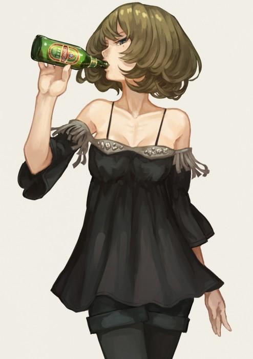二次 非エロ 萌え フェチ お酒 ビール ジョッキ 缶ビール ディアンドル 酔っ払い 泥酔 二次微エロ画像 beer10020170718043